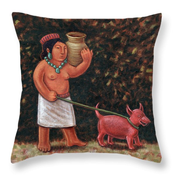 A Walk In Old Colima Throw Pillow by Holly Wood