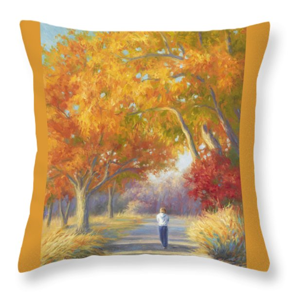 A Walk In The Fall Throw Pillow by Lucie Bilodeau