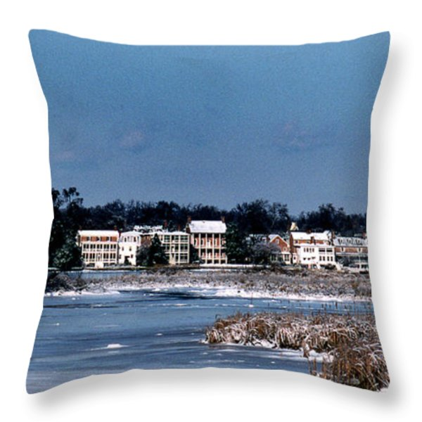 A Waterfront Christmas Throw Pillow by Skip Willits