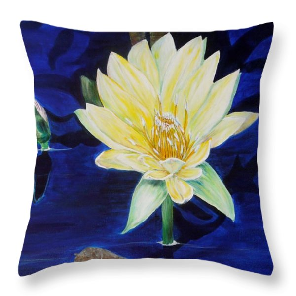 A Waterlily Throw Pillow by Marilyn  McNish