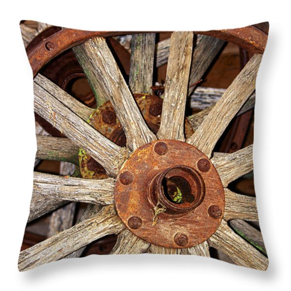A Wheel In A Wheel Throw Pillow by Phyllis Denton