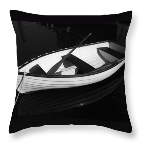 A White Rowboat Throw Pillow by Xueling Zou