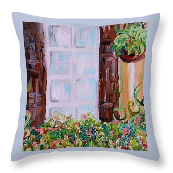 A Window View Throw Pillow by Eloise Schneider