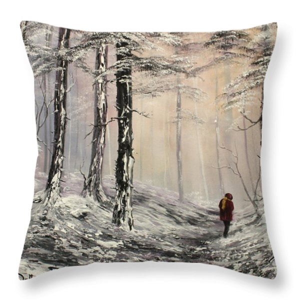 A Winter Walk Throw Pillow by Jean Walker