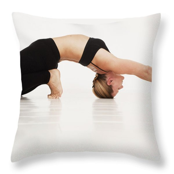 A Woman In A Yoga Pose Tarifa, Cadiz Throw Pillow by Marcos Welsh