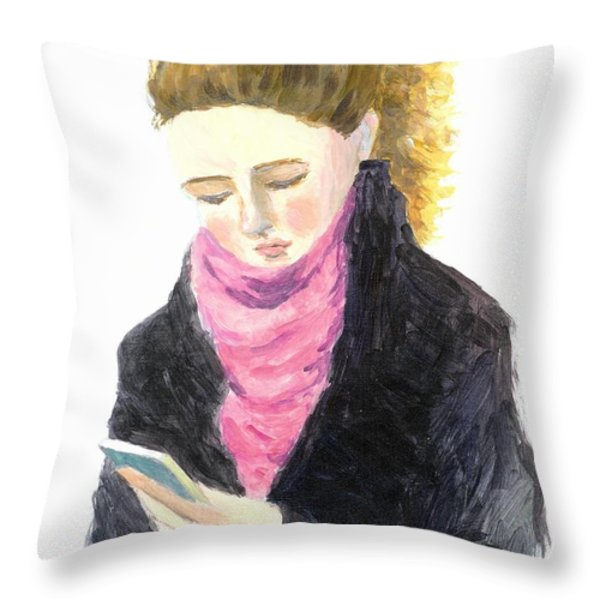 A Woman Texting w Cell Phone Throw Pillow by Jingfen Hwu
