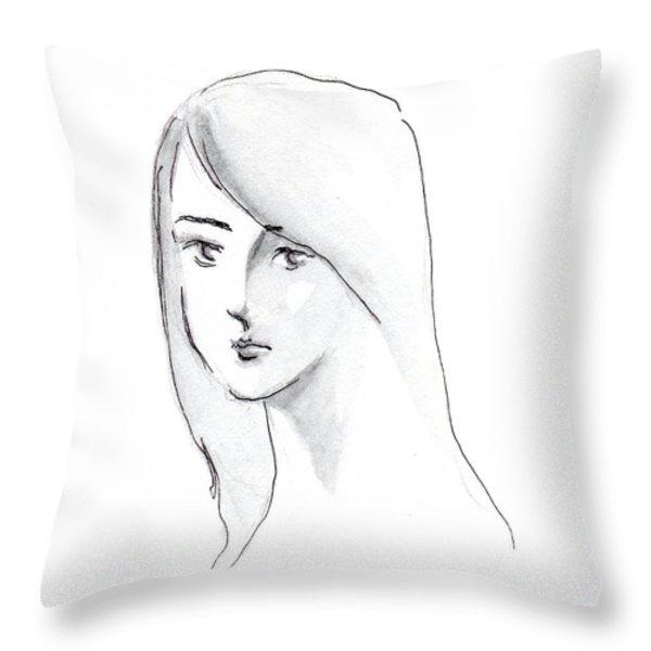A Woman With Long Hair Throw Pillow by Jingfen Hwu
