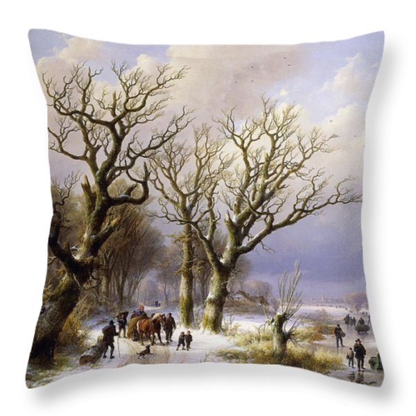 A Wooded Winter Landscape With Figures Throw Pillow by Verboeckhoven and Klombeck