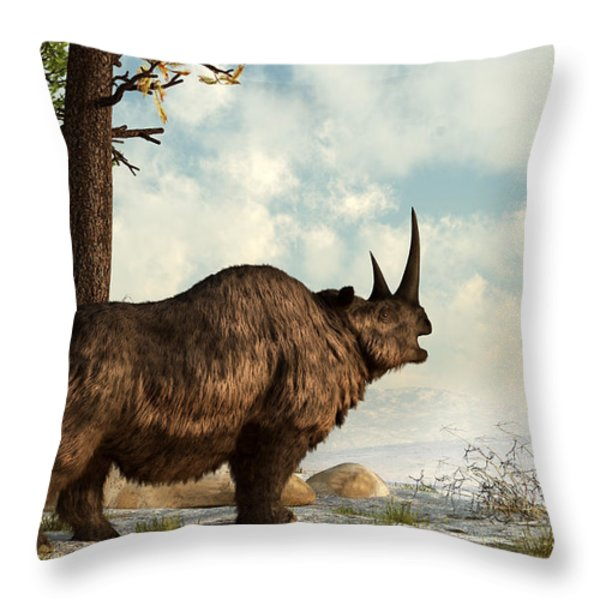 A Woolly Rhinoceros Trudges Throw Pillow by Daniel Eskridge