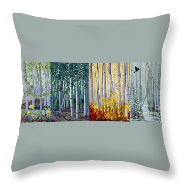 A Year In An Aspen Forest Throw Pillow by Stanza Widen