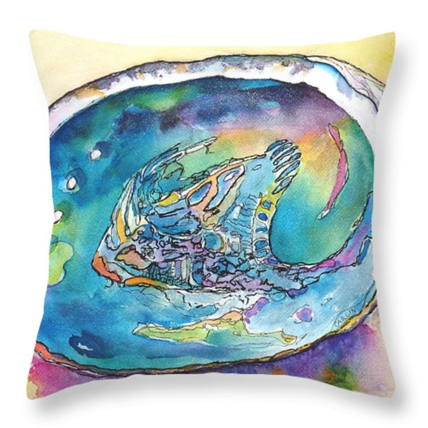Abalone Shell Tropical Color Throw Pillow by Carlin Blahnik