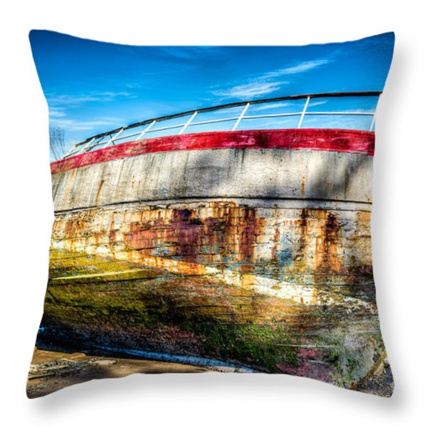 Abandoned Boat Throw Pillow by Adrian Evans