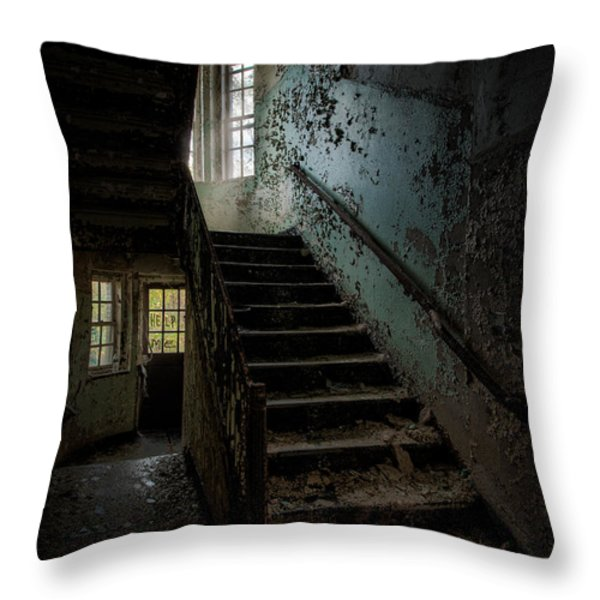 Abandoned Building - Haunting Images - Stairwell in building 138 Throw Pillow by Gary Heller