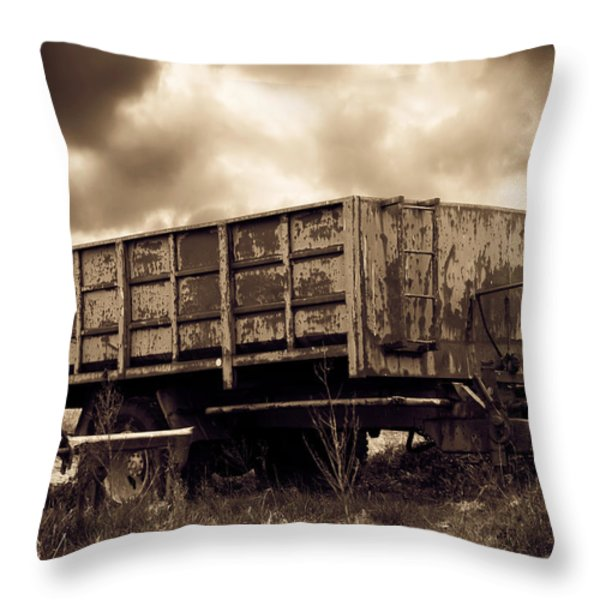 Abandoned Cart Throw Pillow by Wim Lanclus
