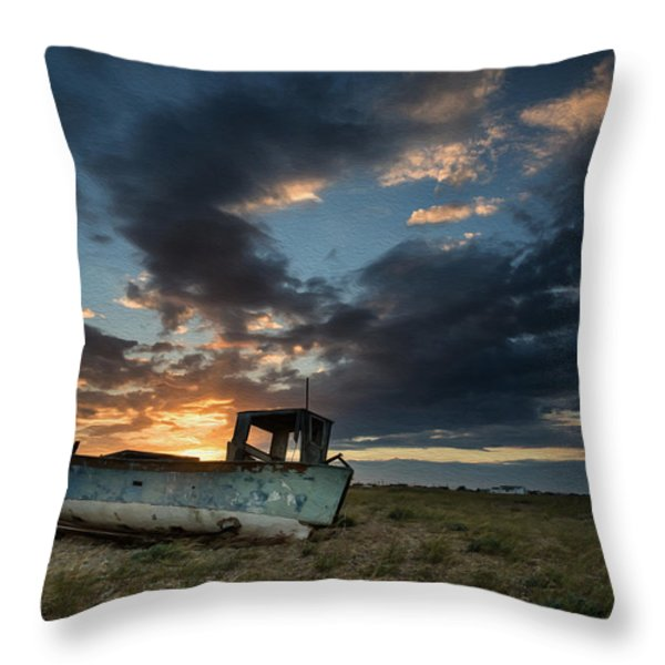 Abandoned fishing boat sunset landscape digital painting Throw Pillow by Matthew Gibson
