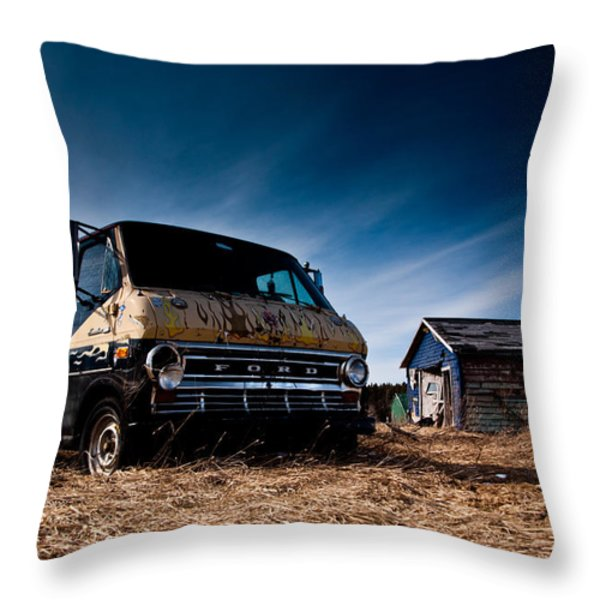 Abandoned Ford Van Throw Pillow by Cale Best