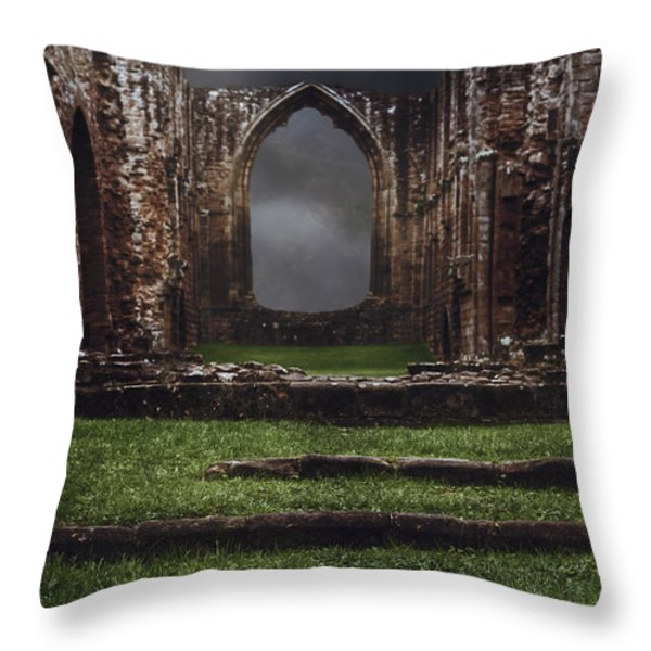Abbey Steps Throw Pillow by Amanda And Christopher Elwell