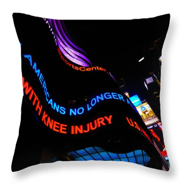 ABC News Scrolling Marquee in Times Square New York City Throw Pillow by Amy Cicconi
