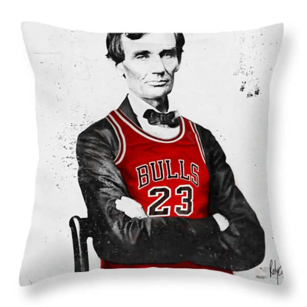 Abe Lincoln In A Bulls Jersey Throw Pillow by Roly Orihuela