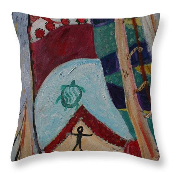 Aborigines Sail Throw Pillow by Avonelle Kelsey