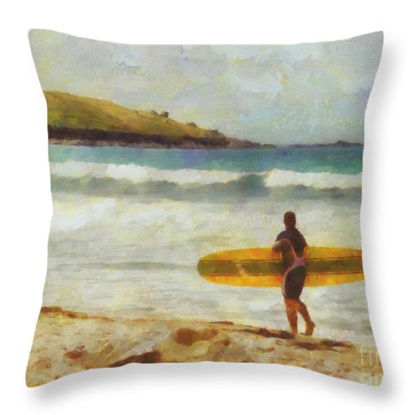 About to surf Throw Pillow by Pixel Chimp