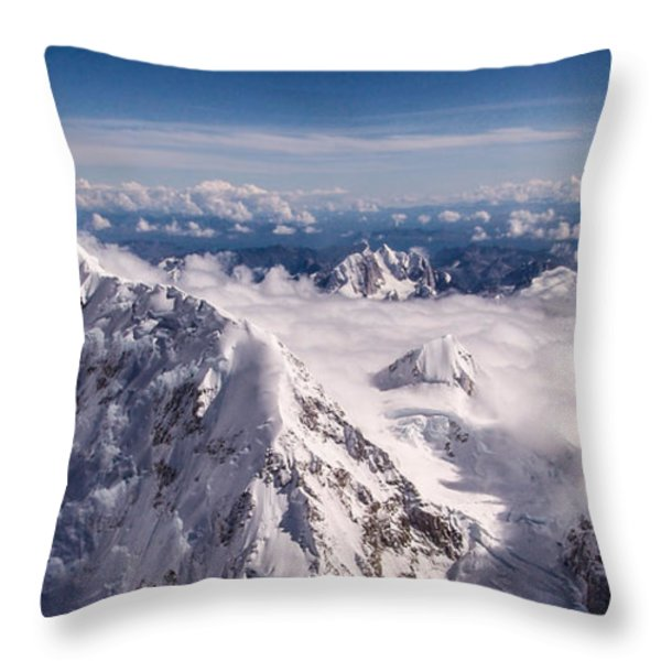 Above Denali Throw Pillow by Chad Dutson
