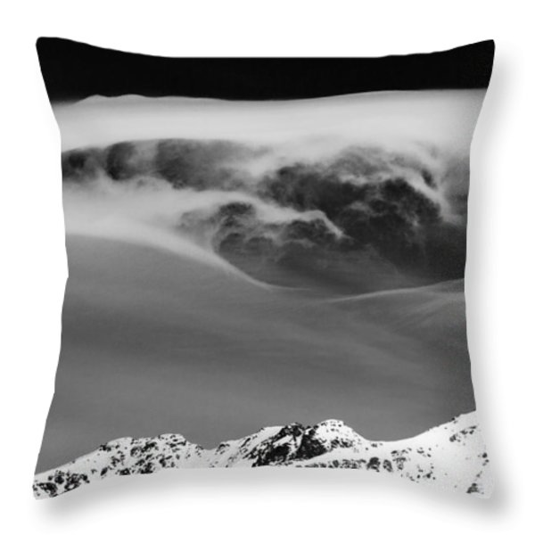 Above The Peaks Throw Pillow by Dave Bowman