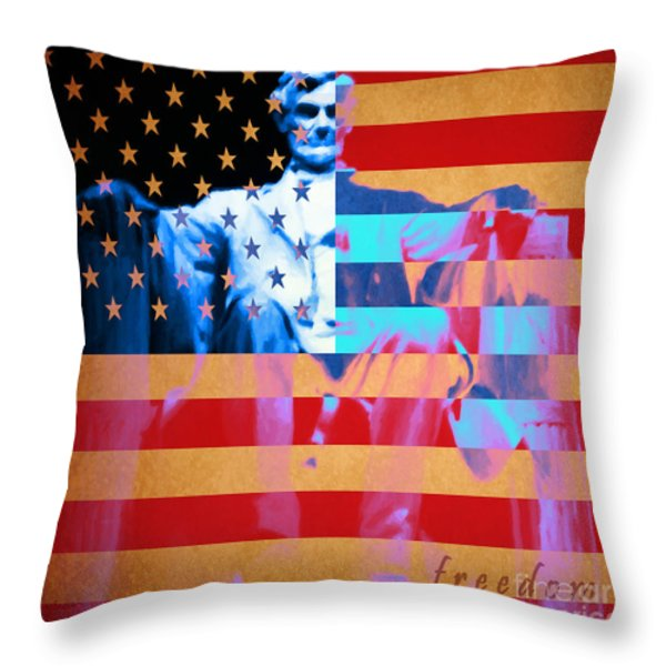 Abraham Lincoln - Freedom Throw Pillow by Wingsdomain Art and Photography