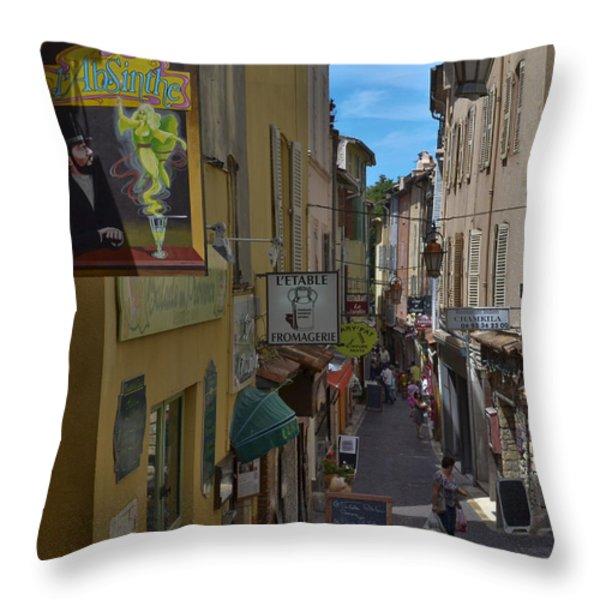 Absinthe In Antibes Throw Pillow by Allen Sheffield