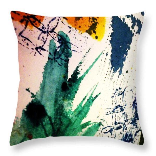 Abstract - Splashes Of Color Throw Pillow by Ellen Levinson