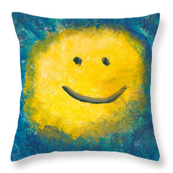 Abstract - Acrylic - Happy Abstraction Throw Pillow by Mike Savad