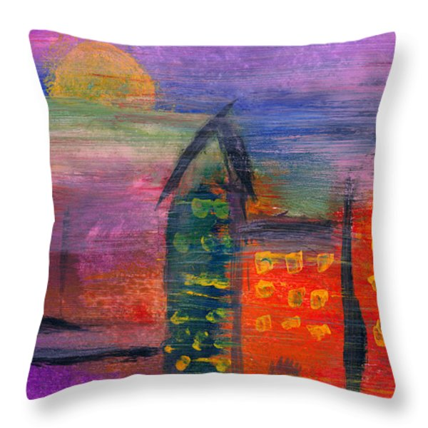 Abstract - Acrylic - Lost in the city Throw Pillow by Mike Savad