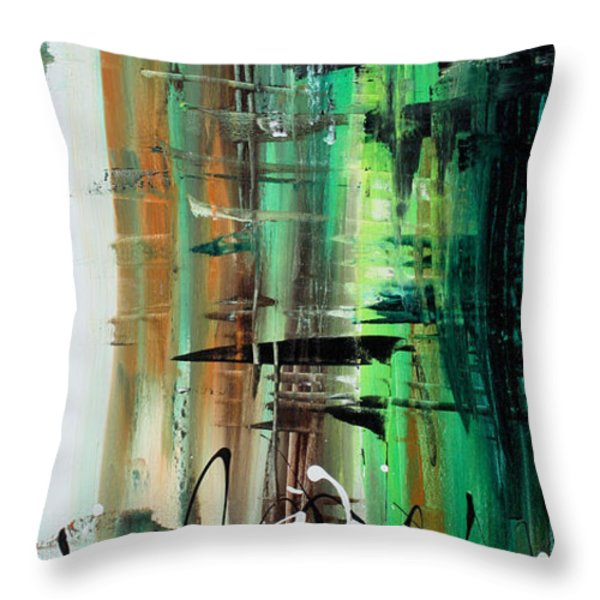 Abstract Art Colorful Original Painting GREEN VALLEY by MADART Throw Pillow by Megan Duncanson
