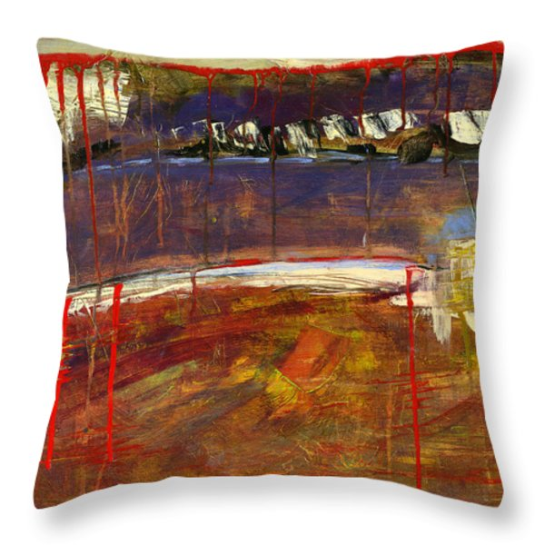 Abstract Art Landscape Throw Pillow by Blenda Studio