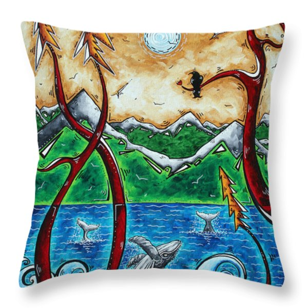 Abstract Art Original Alaskan Wilderness Landscape Painting LAND OF THE FREE by MADART Throw Pillow by Megan Duncanson
