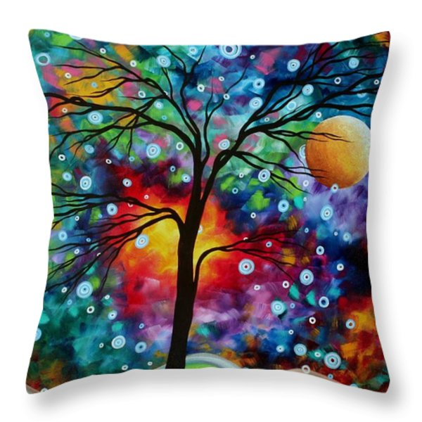 Abstract Art Original Colorful Landscape Painting A MOMENT IN TIME by MADART Throw Pillow by Megan Duncanson