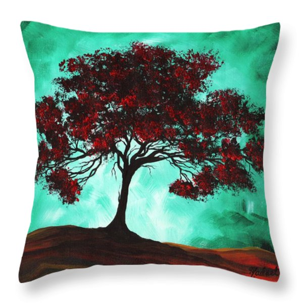 Abstract Art Original Colorful Tree Painting Passion Fire By Madart Throw Pillow by Megan Duncanson