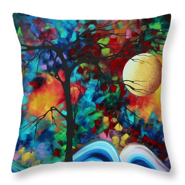 Abstract Art Original Enormous Bold Painting ESSENCE OF THE EARTH I by MADART Throw Pillow by Megan Duncanson