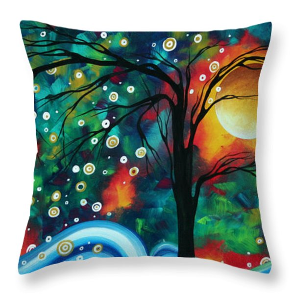 Abstract Art Original Landscape Painting Bold Circle of Life Design DANCE THE NIGHT AWAY by MADART Throw Pillow by Megan Duncanson