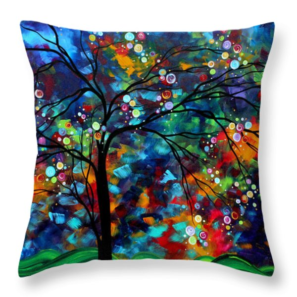 Abstract Art Original Landscape Painting Bold Colorful Design SHIMMER IN THE SKY by MADART Throw Pillow by Megan Duncanson