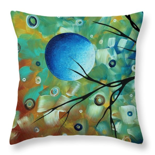 Abstract Art Original Landscape Painting Colorful Circles MORNING BLUES I by MADART Throw Pillow by Megan Duncanson