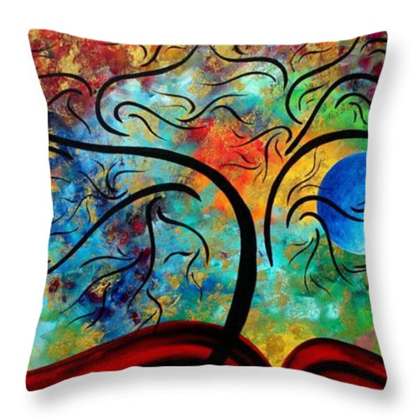 Abstract Art Original Landscape Painting Metallic Gold Textured Blue Moon Rising By Madart Throw Pillow by Megan Duncanson