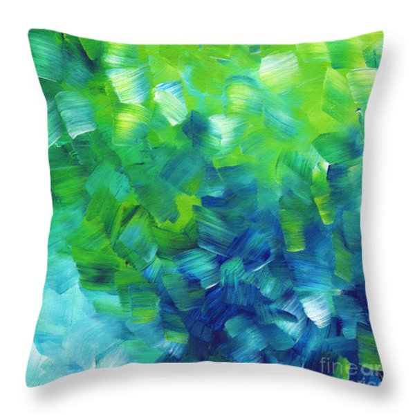 Abstract Art Original Textured Soothing Painting SEA OF WHIMSY I by MADART Throw Pillow by Megan Duncanson
