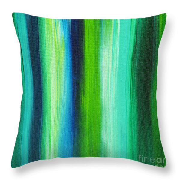 Abstract Art Original Textured Soothing Painting SEA OF WHIMSY STRIPES I by MADART Throw Pillow by Megan Duncanson