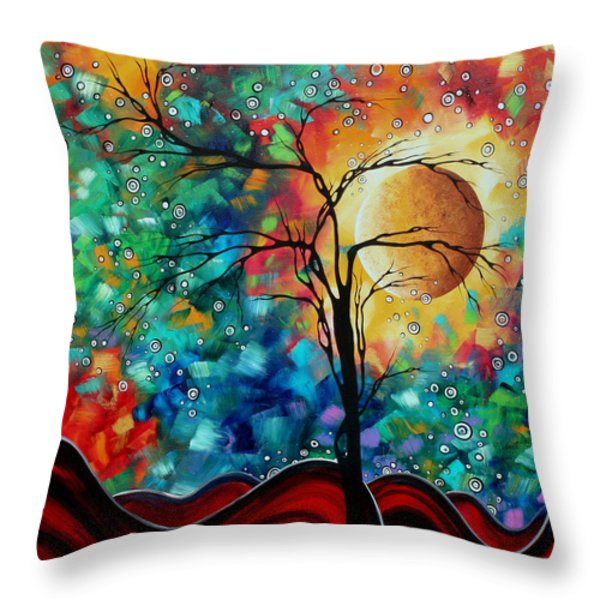 Abstract Art Original Whimsical Modern Landscape Painting BURSTING FORTH by MADART Throw Pillow by Megan Duncanson
