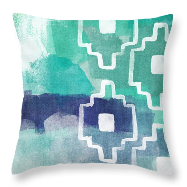 Abstract Aztec- contemporary abstract painting Throw Pillow by Linda Woods
