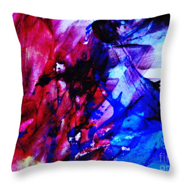 Abstract Blue and Pink Festival Throw Pillow by Andrea Anderegg