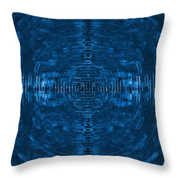 Abstract Blue Electric Circuit Future Technology_oil Painting On Canvas Throw Pillow by Nenad  Cerovic