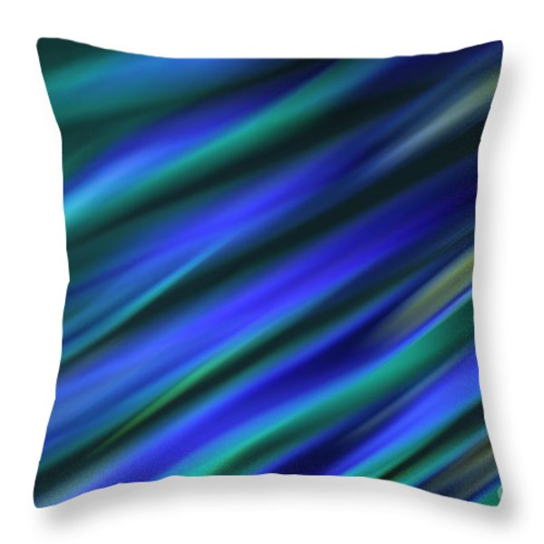 Abstract Blue Green Diagonal Blur Throw Pillow by Marvin Spates