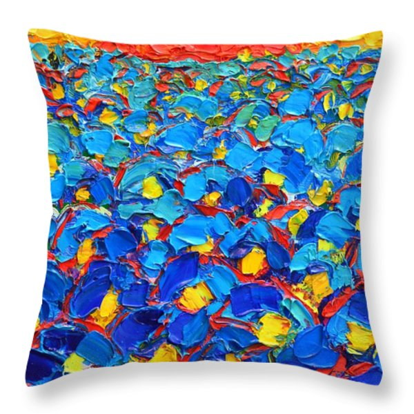 Abstract Blue Poppies In Sunrise -original Oil Painting Throw Pillow by Ana Maria Edulescu